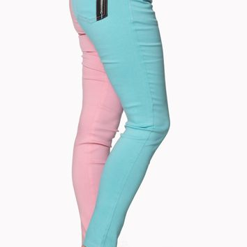 Pastel Goth Pastel Pink and Mint Split Leg Skinny Jean Pants