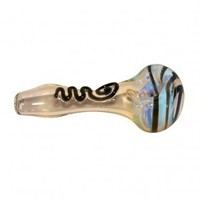 Glass Spoon Pipe - Fumed with Color Artwork - Choice of 3 colors - Hand Pipes - Smoking Pipes - Grasscity.com