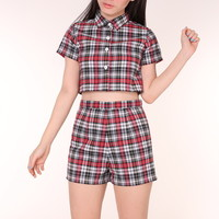 Glitters For Dinner — Made To Order - Katie Tartan Top and Shorts Set in Black & Red