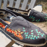 giraffes painted on TOMS shoes by ArtfulSoles on Etsy