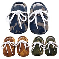 Baby Shoes PU Leather Camouflage Shoes For Girls Kids born Boys Army Green Blue Brown Sneakers Shoes Autumn Spring