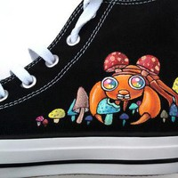 Hand Painted Shoes Custom Converse Psychedelic Mushroom and Paras Glow in the Dark Spa