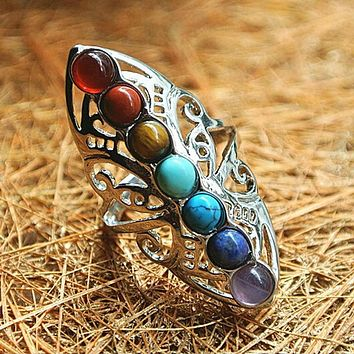 Vintage 7 Chakra Stones Yoga Ring Hollow Silver Plated Adjustable Thumb Ring Reiki Balance Meditation Healing Jewelry (SM2034 Resizable)