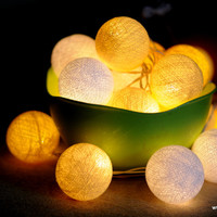 20 x English mustard Yellow cotton ball string light decoration wedding party patio garland decor home