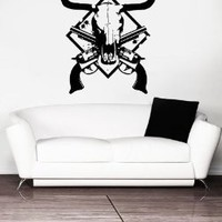Vinyl Wall Decal Sticker Bedroom Cow Deer Skull Hunting Gun Weapons Father Gift r1570