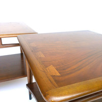 Mid Century Lane Acclaim Lamp Table Danish Modern Two Tier Side End Table PAIR
