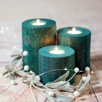 Rustic Holiday Decor, Green Wood Candle Holder