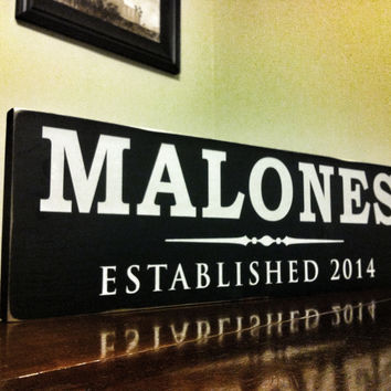 Family Established Sign, Hand Painted, Sanded Edges