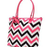 Chevron Stripe Quilted Tote Bag with Detachable Bow Accent (Pink/Black)