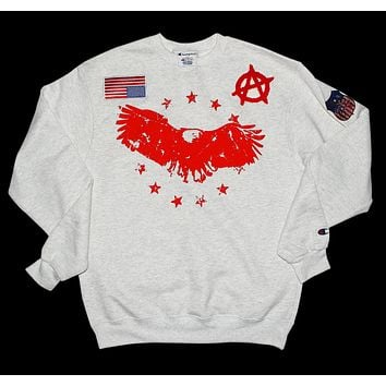 Champion crew neck pullover sweatshirt - Champion Brand x American Anarchy Brand - Red logo