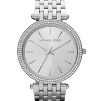 Michael Kors Mid-Size Silver-Color Stainless Steel Darci Three-Hand Glitz Watch - Michael Kors