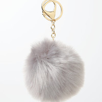 LA Hearts Gray Faux Fur Pom-Pom Keychain at PacSun.com
