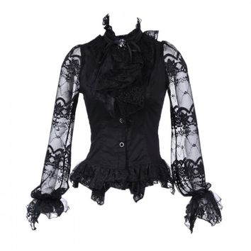 21095BK - Black Shirt with Long Lace Sleeves