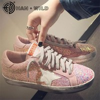 2018 New Woman Glitter Star Casual Shoes Flats Spring Korean Distressed Leather Women Lace Up Vintage Do Old Dirty Shoe