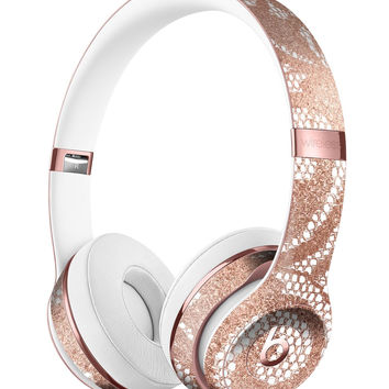 Rose Gold Lace Pattern 14 Full-Body Skin Kit for the Beats by Dre Solo 3 Wireless Headphones
