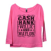 Cash Hank Willie And Waylon Womens 3/4 Long Sleeve Vintage Raw Edge Shirt