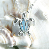 Eco friendly Jewelry Sea glass in turtle locket cage pendant on a .925 Sterling Silver plated Necklace