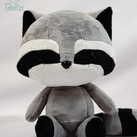 Cute Bellzi Black and Gray w/ White Contrast Raccoon Plushie Doll 11 inch - Cooni