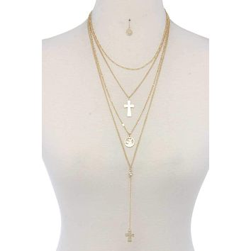 The Tanaro, A Yellow or White Gold Four Strand Cross Necklace & Earring Set