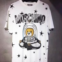 Moschino 2019 new space UFO Teddy bear star print round neck T-shirt