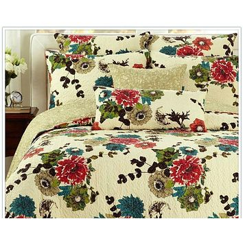 Tache Cotton Red Blue Green Floral Ivory Scalloped Spring Country Garden Bedspread Set (HS7607)