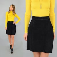 80's Black SUEDE Skirt