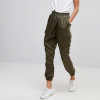 ASOS TALL Woven Wrap Front Utility Jogger with Clean Cuff at asos.com