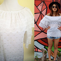 Vintage eyelet off shoulder hippie boho bohemian blouse white ruffle bell sleeves