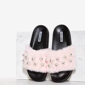 Ball's in Your Court Faux Fur Slide Sandal - Pink