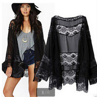 Chiffon Lace Black Loose Long Long Sleeve Japanese dress Shirt blouse Top b2199