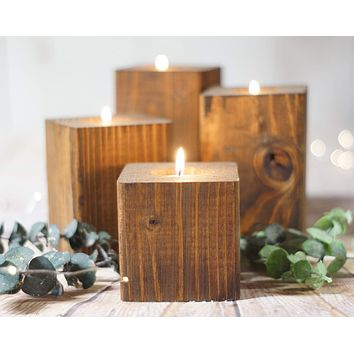 Candle Holder Set of 4, Reclaimed Wood