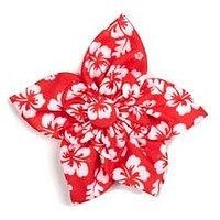 Red and White Hawaiian Dog Cat Collar Flower