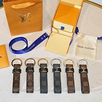 LV Louis Vuitton Fashion Women Men Cowhide Multicolor Car Key Ring Accessories
