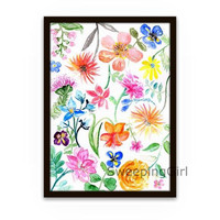 Spring whimsical flowers watercolor painting sbright color pink orange yellow floral nature abstract wall art botanical print poster decor