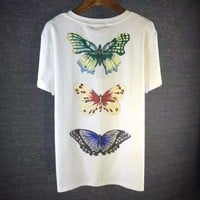 GUCCI Dragonfly Fashion Embroidery Round Neck Tunic Shirt Top Blouse-1