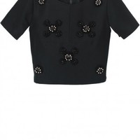 Tibi Cluster Beading Short Sleeve Top