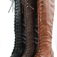 Qupid Rush24 Brown Laced Up Knee High Military Boots Shop Boots at MakeMeChic.com