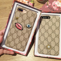 Gucci Fashion Embroider silica gel phone case  iPhone 6 s mobile phone shell iPhone 7 plus shell
