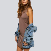 Contrast Color Sleeveless Backless Dress