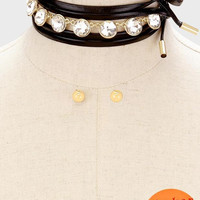 """72"""" gold clear crystal faux leather choker collar necklace .40"""" earrings"""