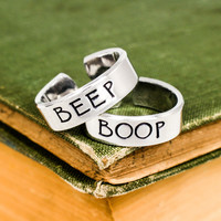Beep and Boop - Robot - Best Friends - Adjustable Aluminum Rings