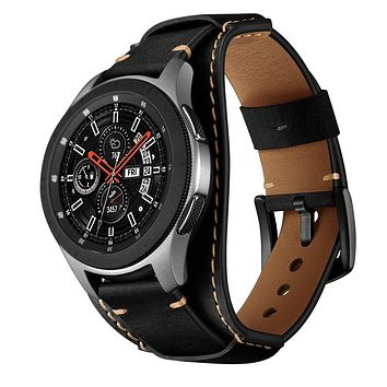 Balerion Cuff Genuine Leather Watch Band,Compatible with Samsung Galaxy Watch 46mm,Gear S3,Fossil Q Explorist/Q Marshal Gen 2 and Other Standard 22mm Band Width Watch Black
