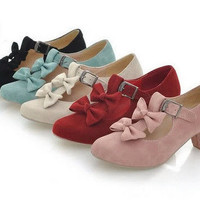 T2446 Women Cute Faux Suede Double Bows Buckles T-Strap Mary Janes Shoes 34-39