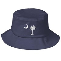 South Carolina Palmetto Moon Embroidered Old School Bucket Hat