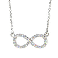 Dear Deer White Gold Plated Cubic Zirconia Infinity Shape Pendant Necklace