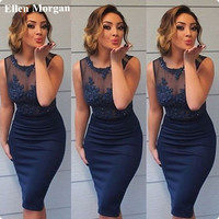 Navy Blue Sheath Short Cocktail Dresses 2017 Real Picture Satin Boat Neck Sexy Cheap Graduation Prom Homecoming Gowns For Girls