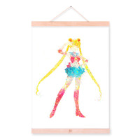 Original Watercolor Sailor Moon Pop Japanese Movie Anime A4 Poster Prints Girl Abstract Kids Room Wall Art Canvas Painting Gifts