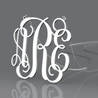 Silver initial monogram necklace 1 inch with 3 letter 925 sterling silver monogram necklace