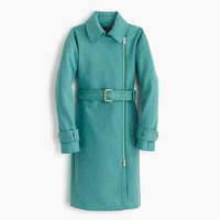 J.Crew Womens Belted Zip Trench Coat In Wool Melton