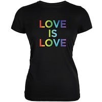 LGBT Gay Pride Love Is Love Black Juniors Soft T-Shirt